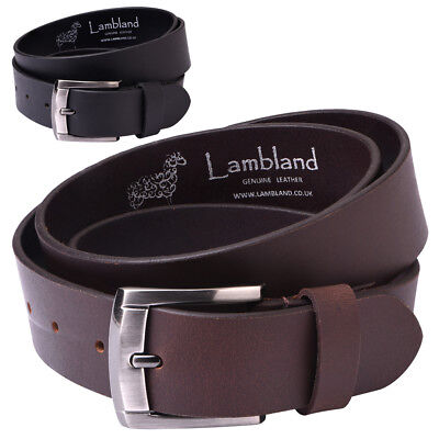 "Mens Gents 35mm 1.25"" Premium Grade Genuine Real Leather Hide Belt Black Brown"