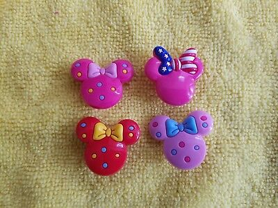 MINNIE MOUSE BOWKNOTS shoe charms/cake toppers!! Set of 4!! FAST USA SHIPPING!