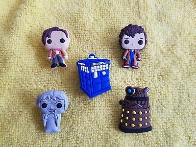DOCTOR WHO shoe charms/cake toppers!! Set of 5!! FAST USA SHIPPING!