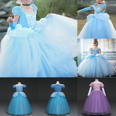 Kids Girls Cinderella Dress Birthday Party Princess Dress Tulle Cosplay Costumes