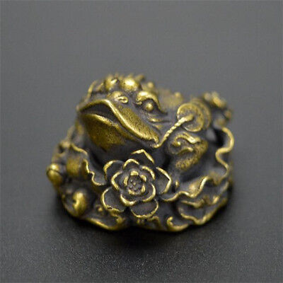 Chinese Old Collectibles pure brass lucky wealth Golden toad frog mini statue