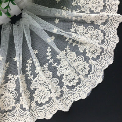1yard Delicate embroidered flower tulle lace trim Sewing DIY A132