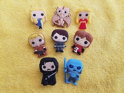 GAME OF THRONES shoe charms/cake toppers!! Set of 8!! FAST USA SHIPPING!