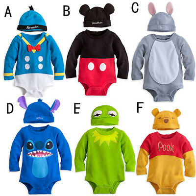 Baby Boys Girls Disney Animal Costume Playsuit Outfit Romper Clothes Hat Set Top