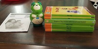 Leap Frog Tag Junior Reader & 7 Books Green Pup Tag Pen