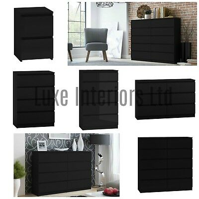 Modern Style Black Chest Of Drawers Bedside Table Range 2 3 4 5 6 810 Drawers