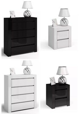 Chunky Style Gloss Chest Of Drawers Bedside Table Range Black Gloss, White Gloss