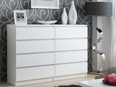 Modern Style Large  White 8 Drawer Chest Of Drawers Easy To Assemble 138cm W