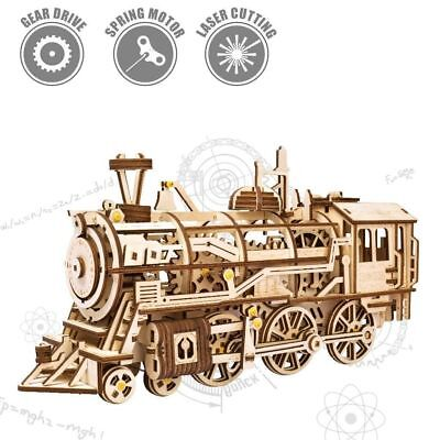 Genuine Robotime Locomotive DIY 3D wooden train puzzle model kit AU Free Post
