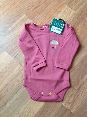 Pink Pointelle Cotton Long Sleeve Baby Body in size 6-9 months