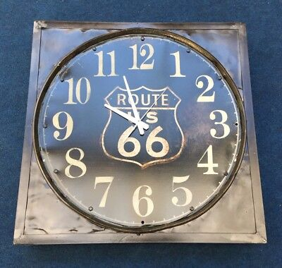 Route 66 Highway Vintage Style Oil Barrel Large Clock Industrial Rustic New