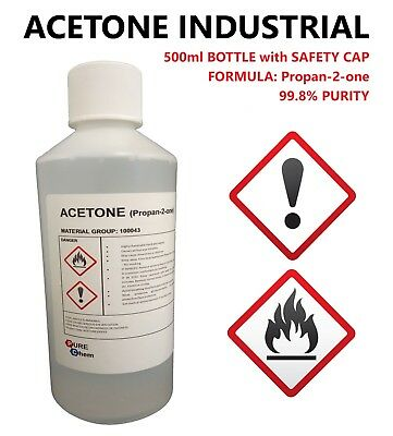 ACETONE 99.8% PURITY - FALSE NAIL REMOVER - SOLVENT DEGREASER - 500ml BOTTLE