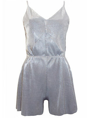 Topshop Womens Metallic Silver Pleated V Plunging Strappy Playsuit size  6-14