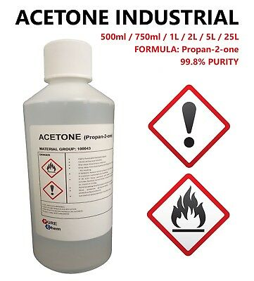 Acetone 99.8% Purity - False Nail Remover Cleaner - Degreaser 1L - 5L - 25L