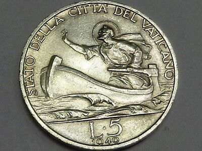 Vatican 1940 Silver 5 Lire Saint Peter on Boat Storm Sea of Galile Pope Pius XII