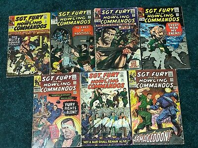 Lot of 7 Sgt. Fury and his Howling Commandos - #'s 20,21,23,25,27,28,29 1965