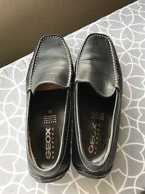 e1e5eb3d9f GEOX Respira Men 8.5 US 42 EU Black Pebbled Leather Driving Loafers Slip On