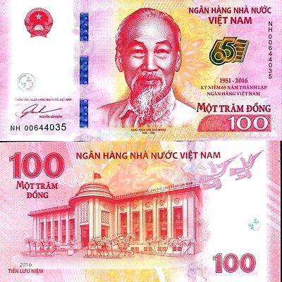 Vietnam 2016 100 Dong 65th Anniversary Commemorative Note Unc