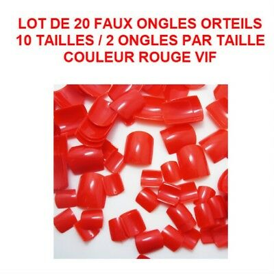 Lot 20 Capsules Tips Faux Ongle Rouge Orteil Pied Pedicure Gel Vernis Ong702