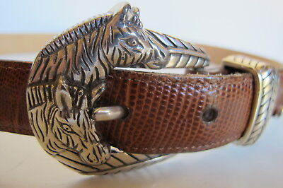 Brighton Brown Embossed Leather Belt Horse Head Silver Tone Buckle M/L 32 MINT