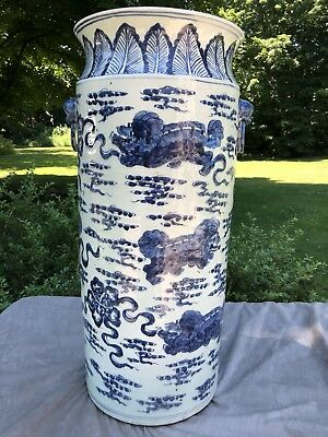 "Huge Antique 24""H Chinese Blue & White Porcelain Sleeve Vase Dragons Kangxi"