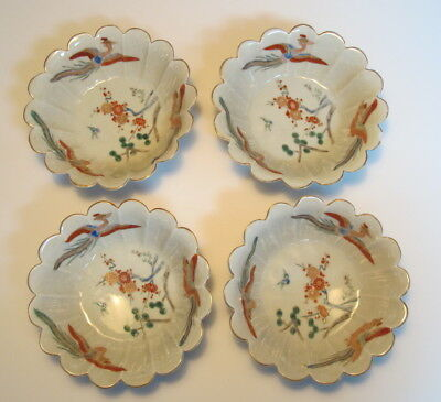"""4 Antique Chinese Famille Rose Scalloped Edge Rice/ Soup Bowls 5.75"""" wide"""