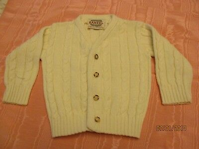 Vintage BARREL Child's Cardigan Sweater Off White chest size 24'