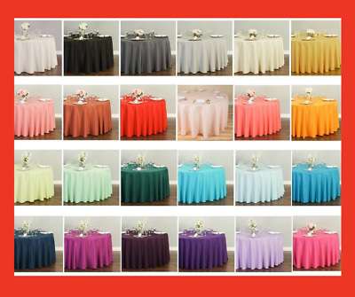 120 in. Round Polyester Tablecloth 32 Colors! Wedding Party Event Wholesale