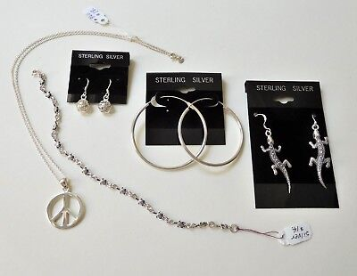 Lot Sterling Silver Jewelry - NWT - Lot of 3 Pair Earrings, Necklace, Bracelet