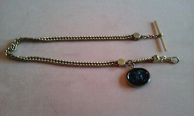 Antique Victorian Gold Filled  Intaglio Pocket Watch Chain Fob
