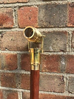 Brand New Wooden Walking Stick Cane Brass Telescope Handle Ross London