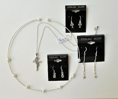 Lot Sterling Silver Jewelry - NWT - Lot of 3 Pair Earrings, 2 Necklaces