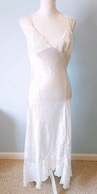 Victoria Secret Maxi Full Length Slip Nightie 100% Silk White Lace Jewels Pearls