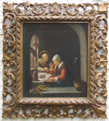 Antonio Sasso Painting After Vermeer, Oil on Canvas, Carved Frame