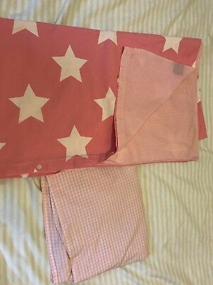 Aspace Cot Bed Duvet Cover And Pillowcase Pink Stars FREE jojo maman fitted shee