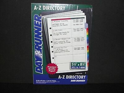 """New DAY RUNNER A-Z Directory 7 Ring Address Phone 5.5""""x 8.5"""" Tabs & Index 021-01"""