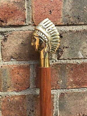 Classic Style Wooden Brown Walking Stick Cane Egypt Handle Gold Finish