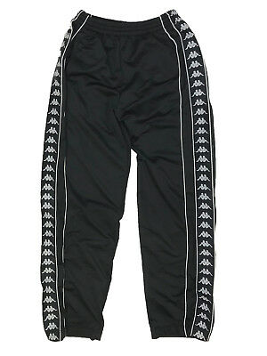Vintage Men's Kappa Tear Away Black Track Pants with Buttons - Size Large