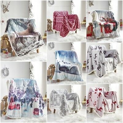 Christmas Luxurious Throws Super Soft Warm Cosy Sofa and Bed Fleece Blankets DL
