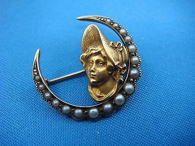 Antique, Art Nouveau 14K Yellow Gold Small Brooch With Seed Pearls 2.3 Grams