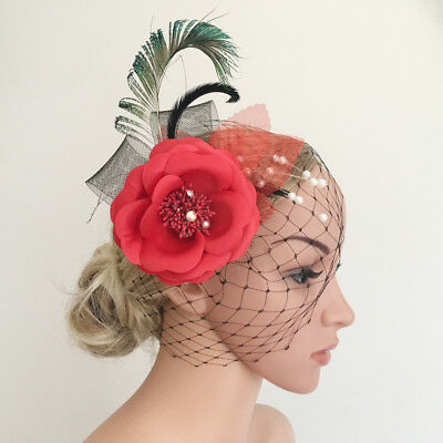 Wedding Flower Peacock Feather Headpiece 1920s Fascinator Bridal Hair Clip