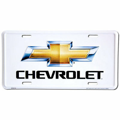 CHEVROLET White Metal Stamped Tag Novelty License Frame CHEVY Embossed Plate