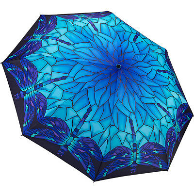 Galleria Stained Glass Dragonfly Folding Umbrella Umbrellas and Rain Gear NEW