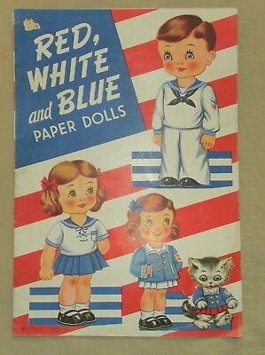 WWII 1943 VINTAGE RED WHITE and BLUE PAPER DOLLS SAALFIELD #321 PATRIOTIC UNCUT