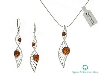 NATURAL BALTIC AMBER SILVER 925 EARRINGS & PENDANT CHAIN SET Certified GIFT BOX