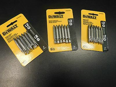 "3 Pks-Dewalt Power Bits 2""l P2 Double Ended P2&p2 & P2 & #8 Straight New"