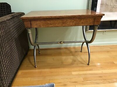 Writing Desk, Antique top with brass and steel base one drawer