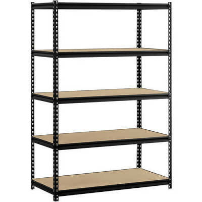 "Muscle Rack 48""W x 24""D x 72""H 5-Shelf Steel Shelving, Black- Top Quality"