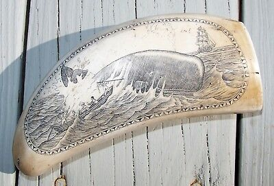 Vintage Scrimshaw Faux Resin Carved Sperm Whale Tooth Breech Whale Harpoon Boat