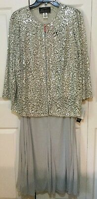 Women's Alex Evenings 2-Piece Sparkling Silver/Gray Gown Wedding Formal 16W NEW